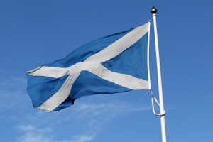 Scottish Saltire flag (St. Andrew's Cross) blowing in the wind